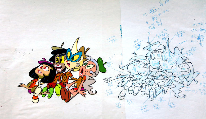 IMAGE: Animation cel and production drawing of scared troop girls