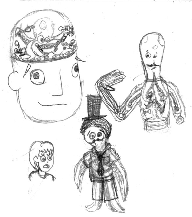 IMAGE: Octodad early sketches – octopus controlling robot human