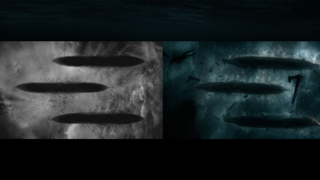 IMAGE: Silhouetted boats underwater sketch and final shot